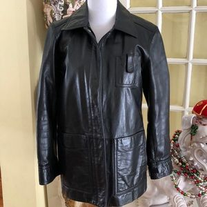Armani Exchange Black Leather Jacket size Medium